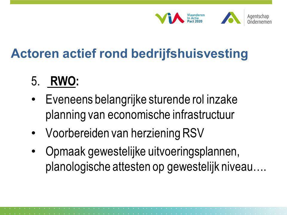 Actoren actief rond bedrijfshuisvesting 5. RWO: Eveneens belangrijke sturende rol inzake planning van economische infrastructuur Voorbereiden van herz
