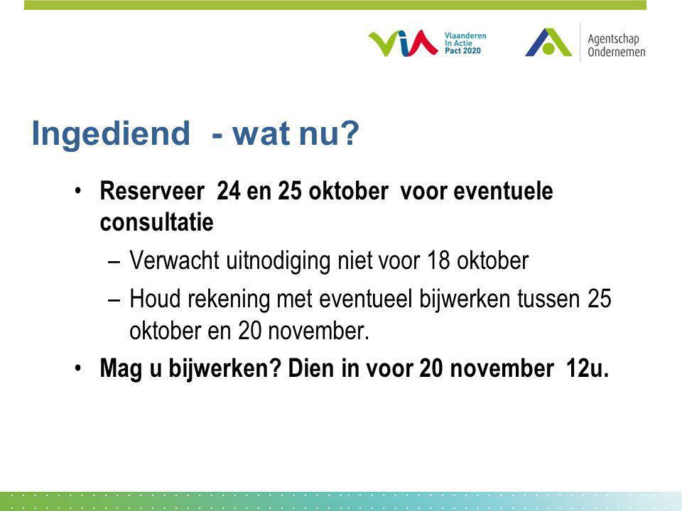 Ingediend - wat nu? Reserveer 24 en 25 oktober voor eventuele consultatie –Verwacht uitnodiging niet voor 18 oktober –Houd rekening met eventueel bijw