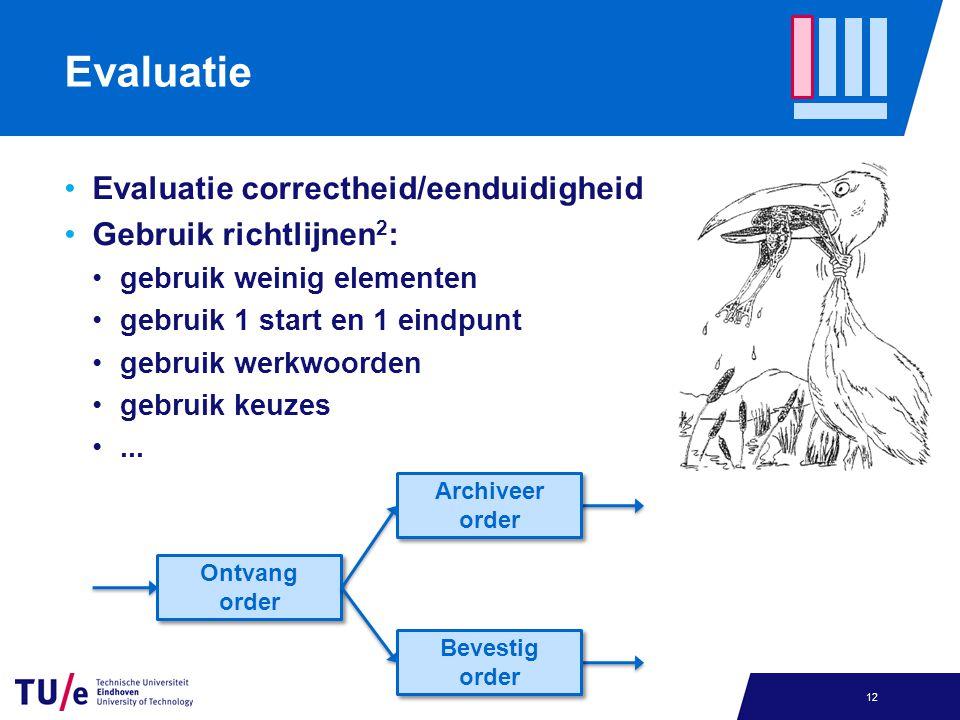 Evaluatie Evaluatie correctheid/eenduidigheid Gebruik richtlijnen 2 : gebruik weinig elementen gebruik 1 start en 1 eindpunt gebruik werkwoorden gebruik keuzes...