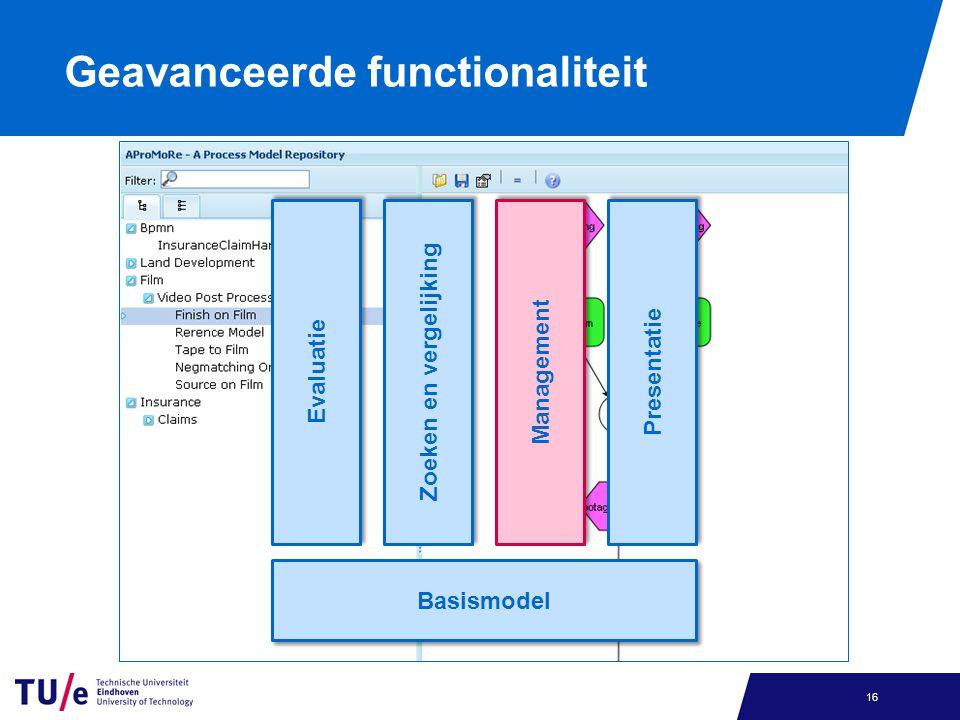 Geavanceerde functionaliteit 16 Presentatie Management Zoeken en vergelijking Evaluatie Basismodel