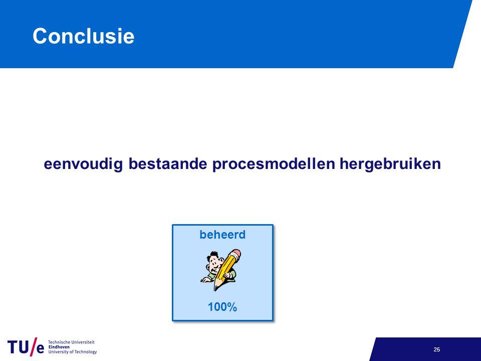 Conclusie eenvoudig bestaande procesmodellen hergebruiken 25 beheerd 100% beheerd 100%