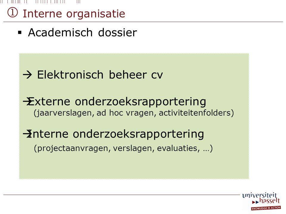  Academisch dossier  Elektronisch beheer cv  Externe onderzoeksrapportering (jaarverslagen, ad hoc vragen, activiteitenfolders)  Interne onderzoek