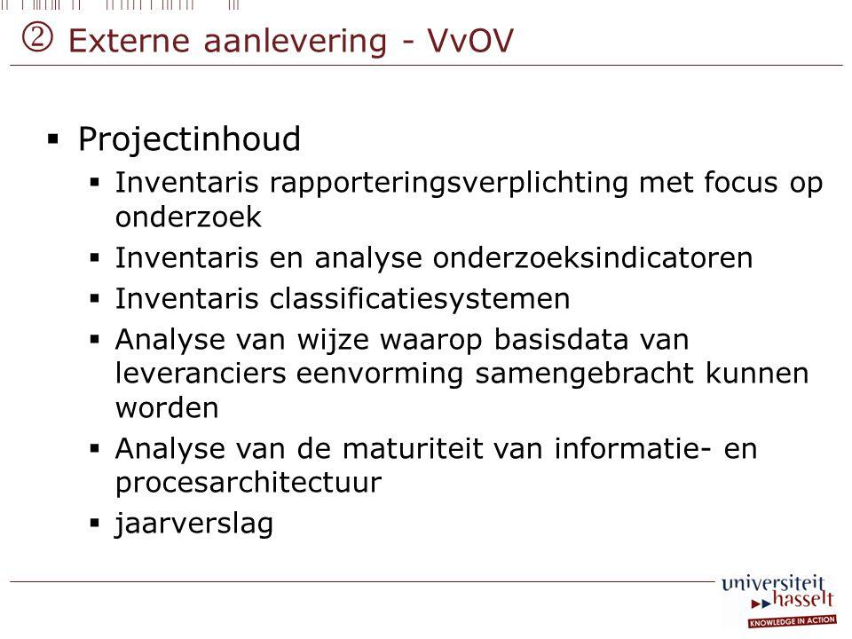 Externe aanlevering - VvOV  Projectinhoud  Inventaris rapporteringsverplichting met focus op onderzoek  Inventaris en analyse onderzoeksindicator