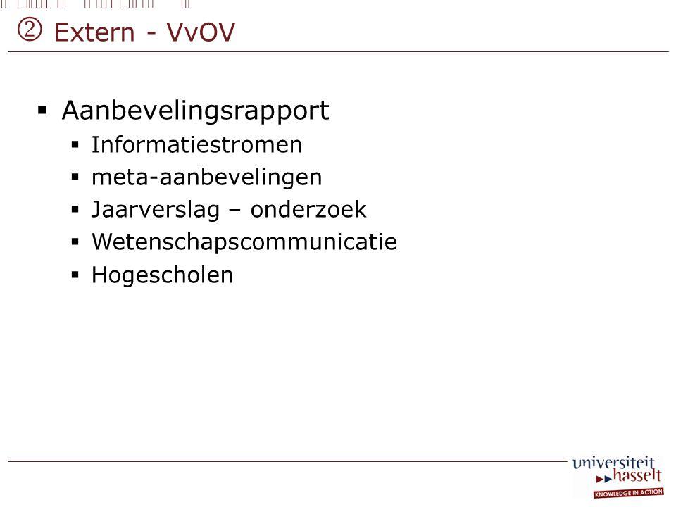  Extern - VvOV  Aanbevelingsrapport  Informatiestromen  meta-aanbevelingen  Jaarverslag – onderzoek  Wetenschapscommunicatie  Hogescholen