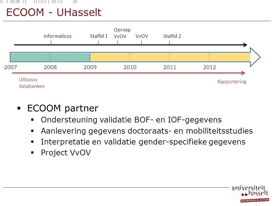 ECOOM - UHasselt SOOIECOOM Uitbouw databanken Rapportering  ECOOM partner  Ondersteuning validatie BOF- en IOF-gegevens  Aanlevering gegevens docto