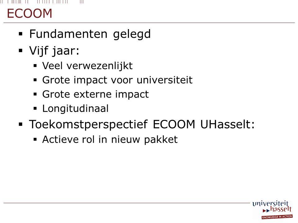 ECOOM  Fundamenten gelegd  Vijf jaar:  Veel verwezenlijkt  Grote impact voor universiteit  Grote externe impact  Longitudinaal  Toekomstperspec