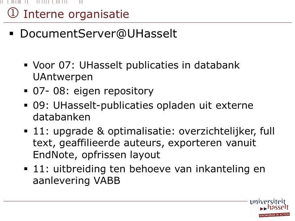  Interne organisatie  DocumentServer@UHasselt  Voor 07: UHasselt publicaties in databank UAntwerpen  07- 08: eigen repository  09: UHasselt-publi