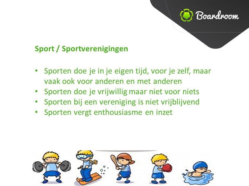 Sporten doe je in je eigen tijd, voor je zelf, maar vaak ook voor anderen en met anderen Sporten doe je vrijwillig maar niet voor niets Sporten bij een vereniging is niet vrijblijvend Sporten vergt enthousiasme en inzet