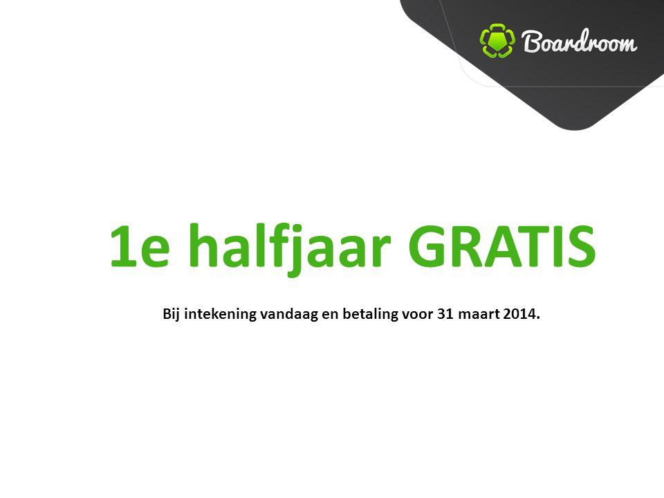 1e halfjaar GRATIS Bij intekening vandaag en betaling voor 31 maart 2014.