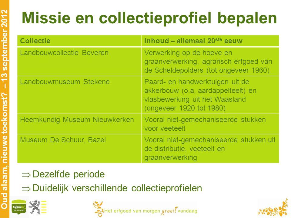 Oud alaam, nieuwe toekomst? – 13 september 2012 Missie en collectieprofiel bepalen CollectieInhoud – allemaal 20 ste eeuw Landbouwcollectie BeverenVer