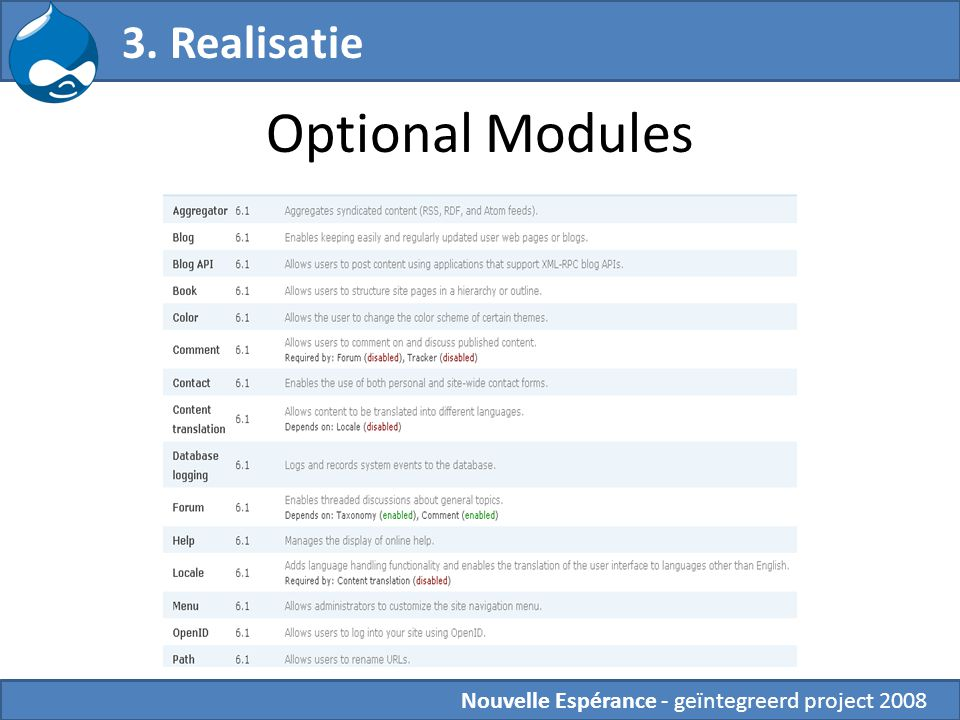 Optional Modules 3. Realisatie Nouvelle Espérance - geïntegreerd project 2008
