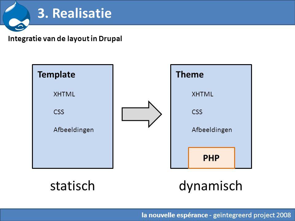 6.Theming Integratie van de layout in Drupal 3.