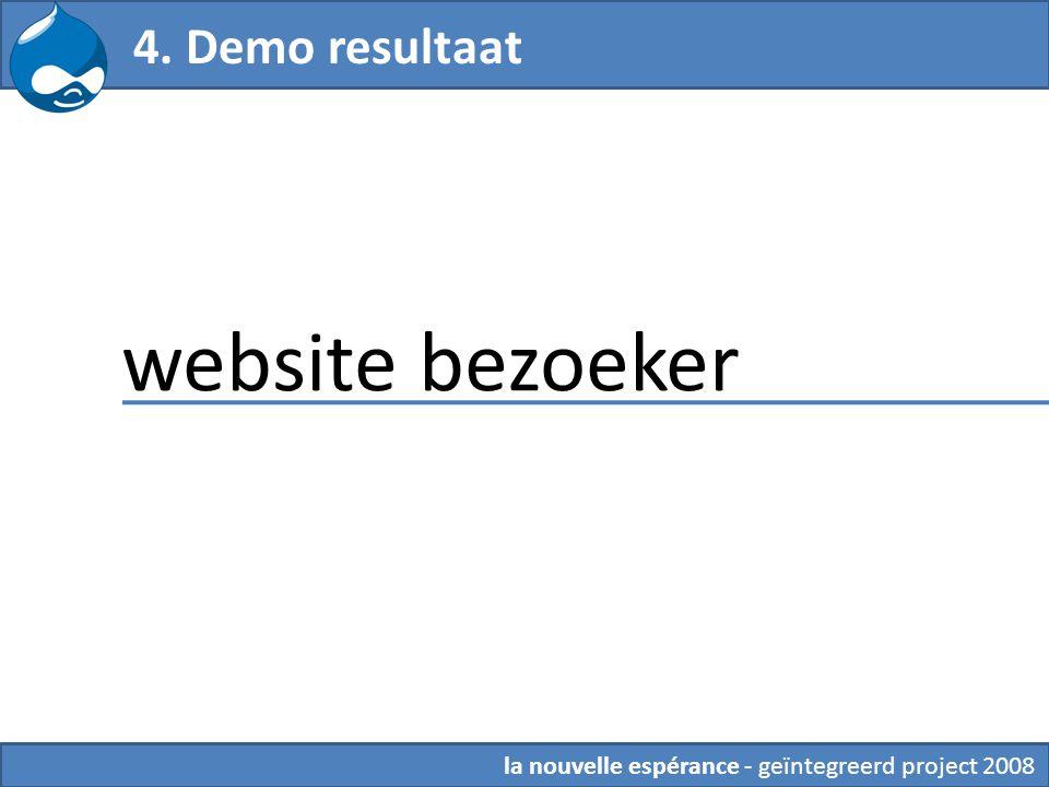 la nouvelle espérance - geïntegreerd project 2008 4. Demo resultaat website bezoeker