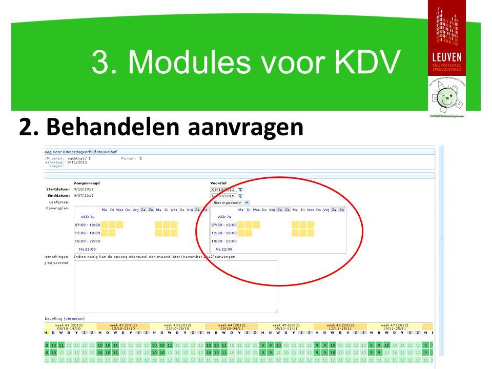 2. Behandelen aanvragen 3. Modules voor KDV