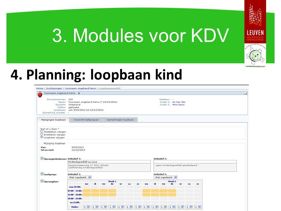 4. Planning: loopbaan kind 3. Modules voor KDV