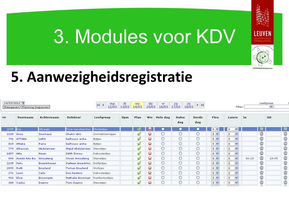 5. Aanwezigheidsregistratie 3. Modules voor KDV