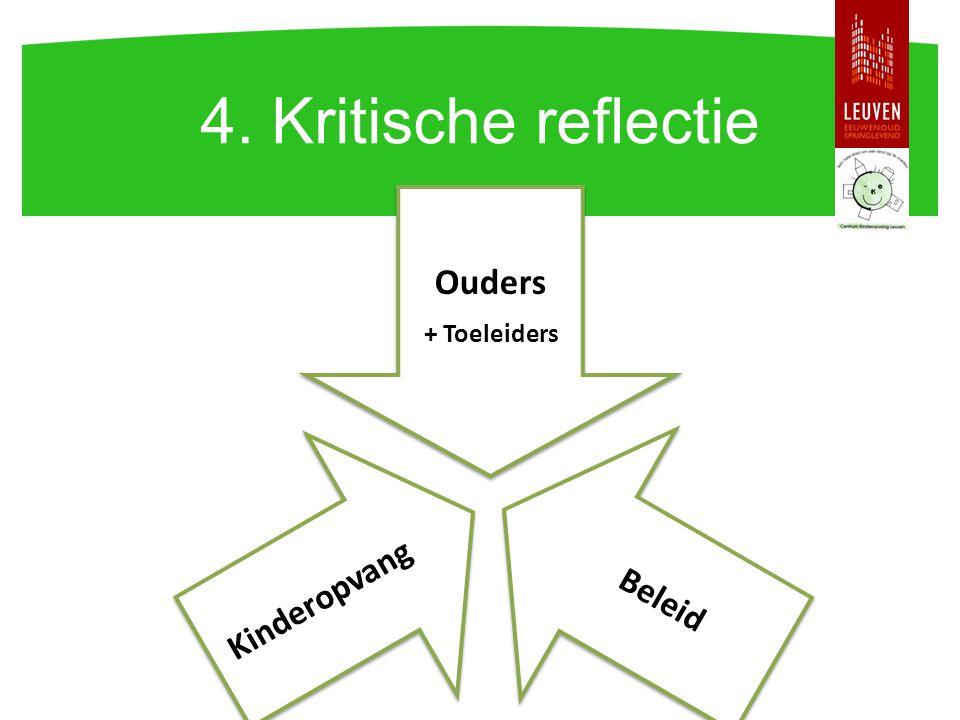 4. Kritische reflectie Ouders + Toeleiders Beleid Kinderopvang