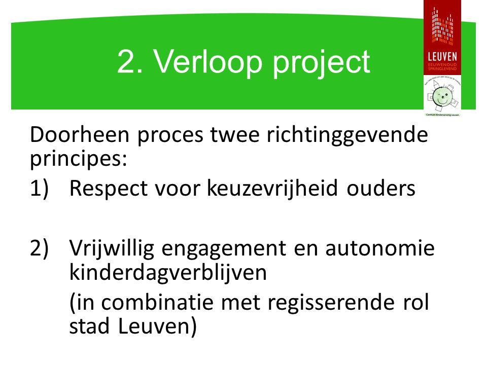 Doorheen proces twee richtinggevende principes: 1)Respect voor keuzevrijheid ouders 2)Vrijwillig engagement en autonomie kinderdagverblijven (in combi
