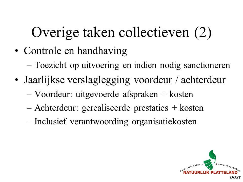 Overige taken collectieven (2) Controle en handhaving –Toezicht op uitvoering en indien nodig sanctioneren Jaarlijkse verslaglegging voordeur / achter