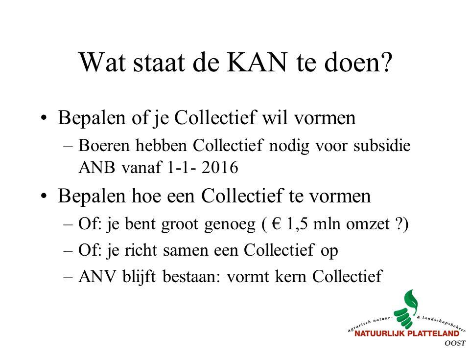 Wat staat de KAN te doen? Bepalen of je Collectief wil vormen –Boeren hebben Collectief nodig voor subsidie ANB vanaf 1-1- 2016 Bepalen hoe een Collec