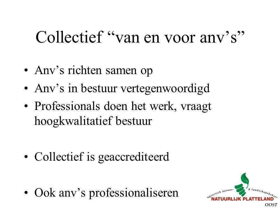 """Collectief """"van en voor anv's"""" Anv's richten samen op Anv's in bestuur vertegenwoordigd Professionals doen het werk, vraagt hoogkwalitatief bestuur Co"""