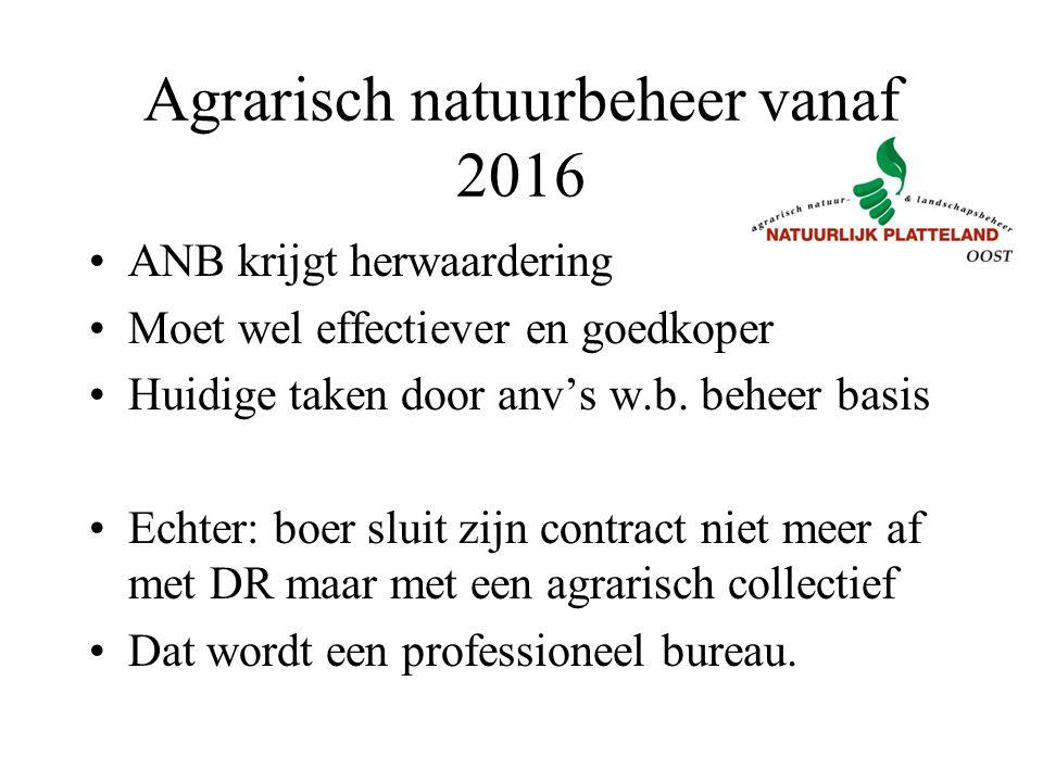 Agrarisch natuurbeheer vanaf 2016 ANB krijgt herwaardering Moet wel effectiever en goedkoper Huidige taken door anv's w.b. beheer basis Echter: boer s