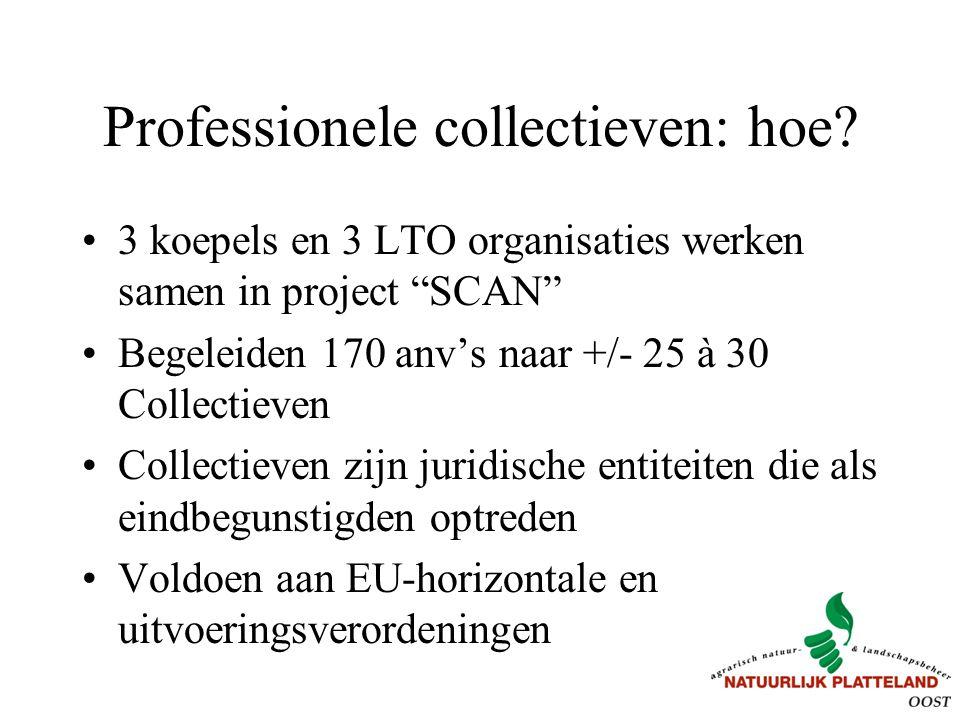 """Professionele collectieven: hoe? 3 koepels en 3 LTO organisaties werken samen in project """"SCAN"""" Begeleiden 170 anv's naar +/- 25 à 30 Collectieven Col"""