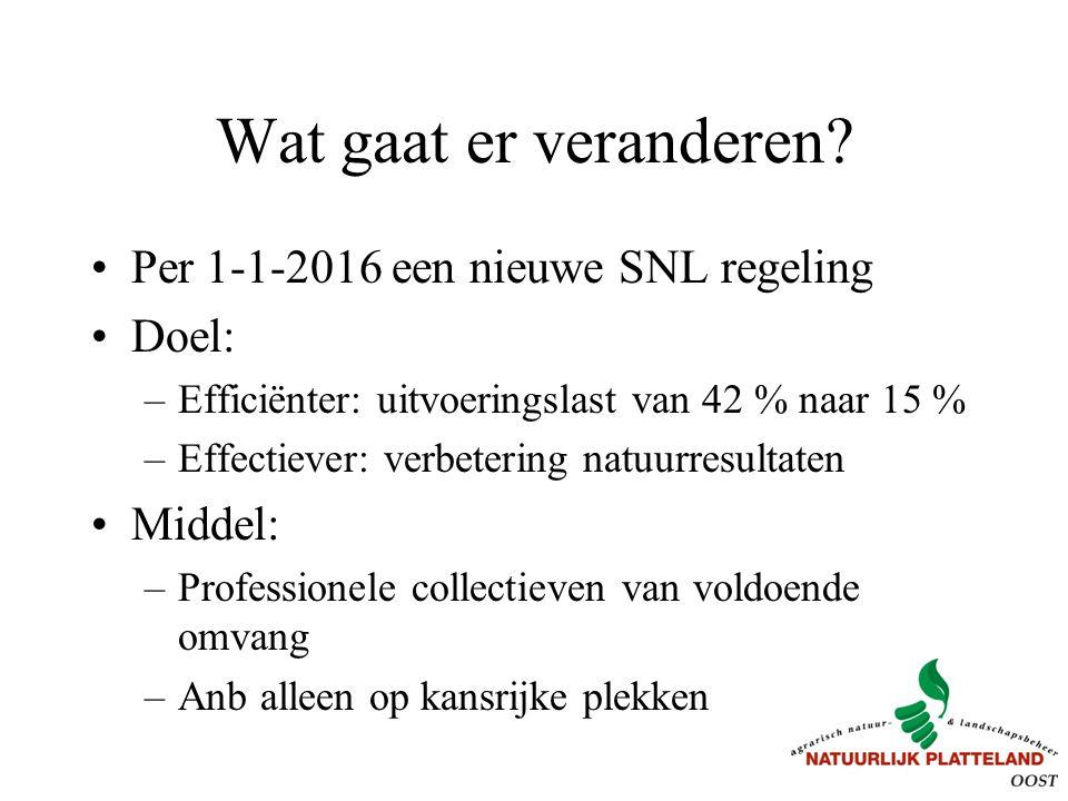 Wat gaat er veranderen? Per 1-1-2016 een nieuwe SNL regeling Doel: –Efficiënter: uitvoeringslast van 42 % naar 15 % –Effectiever: verbetering natuurre