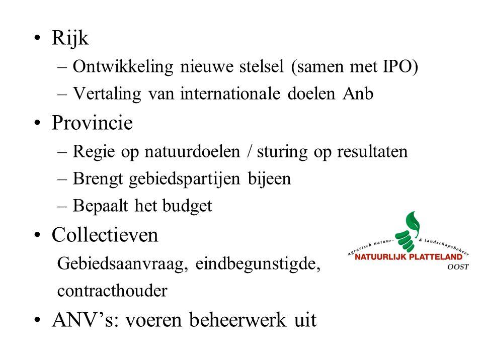 Rijk –Ontwikkeling nieuwe stelsel (samen met IPO) –Vertaling van internationale doelen Anb Provincie –Regie op natuurdoelen / sturing op resultaten –B