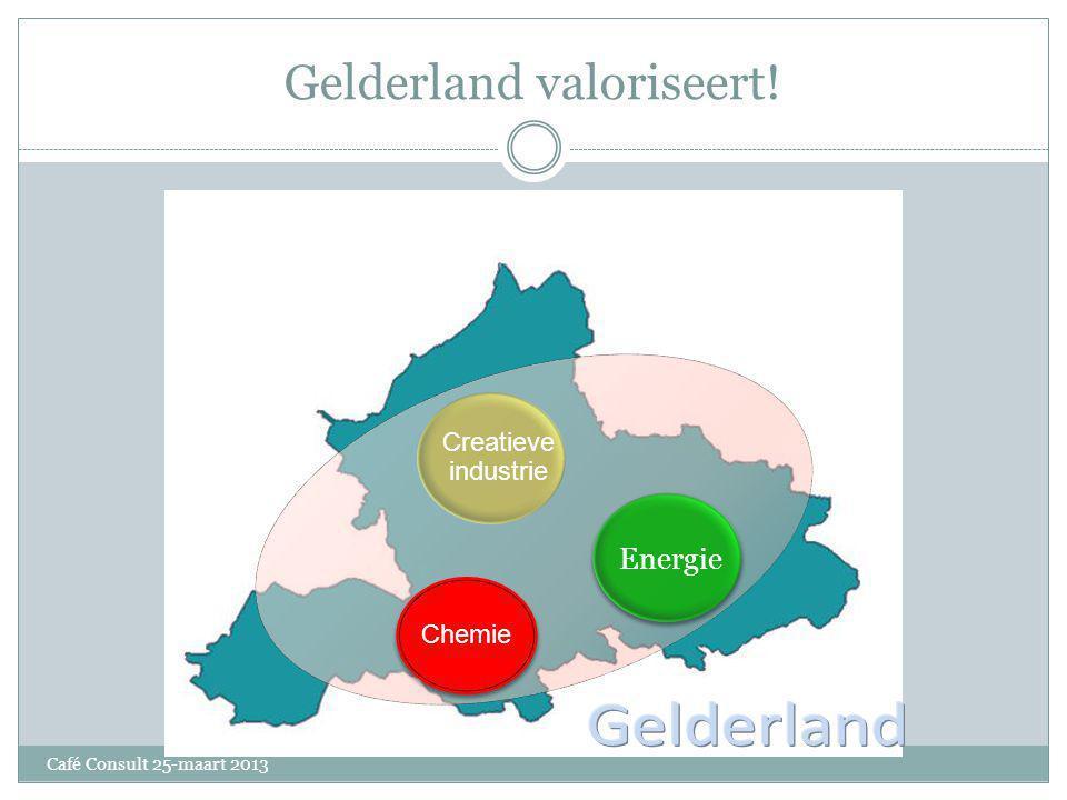 Gelderland valoriseert! Gelderland Gelderla Gelderlan d Chemie Energie Creatieve industrie Café Consult 25-maart 2013