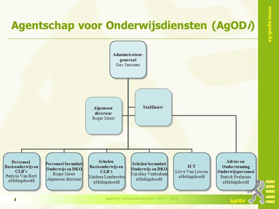 www.agodi.be AgODi opleiding schoolsecretariaten 2012 – 2013 4 Agentschap voor Onderwijsdiensten (AgODi) Administrateur- generaal Guy Janssens Adminis