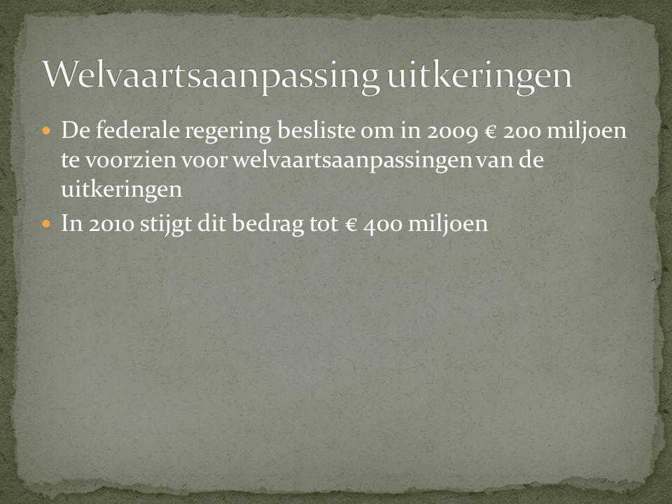 De federale regering besliste om in 2009 € 200 miljoen te voorzien voor welvaartsaanpassingen van de uitkeringen In 2010 stijgt dit bedrag tot € 400 miljoen