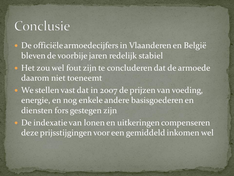 De officiële armoedecijfers in Vlaanderen en België bleven de voorbije jaren redelijk stabiel Het zou wel fout zijn te concluderen dat de armoede daarom niet toeneemt We stellen vast dat in 2007 de prijzen van voeding, energie, en nog enkele andere basisgoederen en diensten fors gestegen zijn De indexatie van lonen en uitkeringen compenseren deze prijsstijgingen voor een gemiddeld inkomen wel