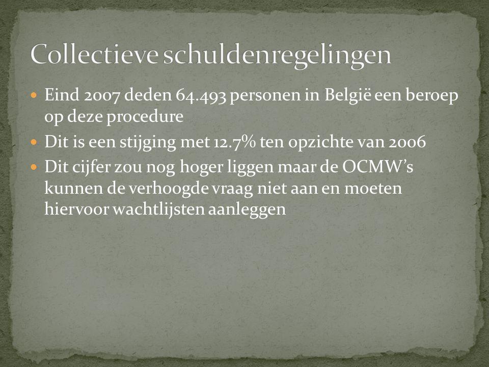Eind 2007 deden 64.493 personen in België een beroep op deze procedure Dit is een stijging met 12.7% ten opzichte van 2006 Dit cijfer zou nog hoger liggen maar de OCMW's kunnen de verhoogde vraag niet aan en moeten hiervoor wachtlijsten aanleggen