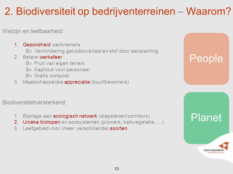 PeoplePlanet 13 2. Biodiversiteit op bedrijventerreinen – Waarom? Welzijn en leefbaarheid: 1.Gezondheid werknemers Bv. Vermindering geluidsoverlast en
