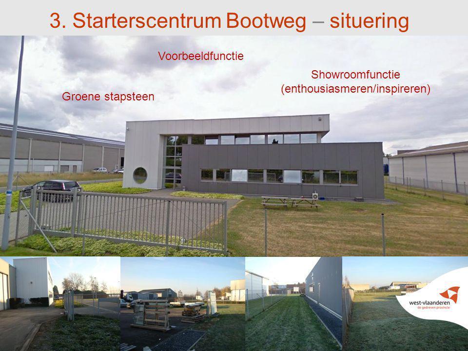 3. Starterscentrum Bootweg – situering Voorbeeldfunctie Showroomfunctie (enthousiasmeren/inspireren) Groene stapsteen