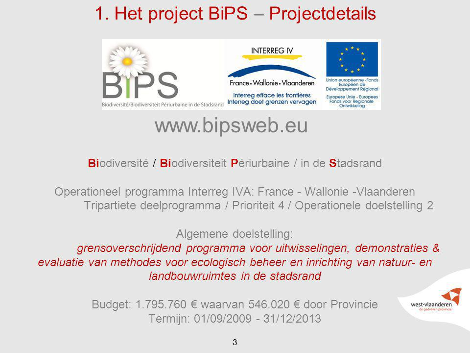 33 1. Het project BiPS – Projectdetails Biodiversité / Biodiversiteit Périurbaine / in de Stadsrand Operationeel programma Interreg IVA: France - Wall