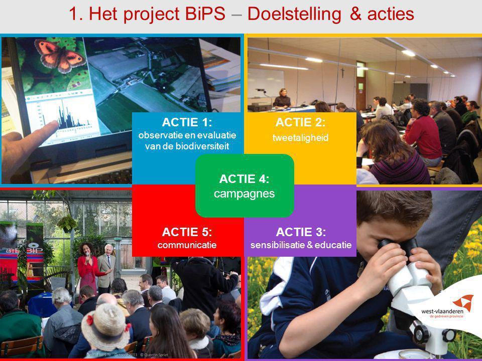55 1. Het project BiPS – Doelstelling & acties ACTIE 1: observatie en evaluatie van de biodiversiteit ACTIE 2: tweetaligheid ACTIE 4: campagnes ACTIE
