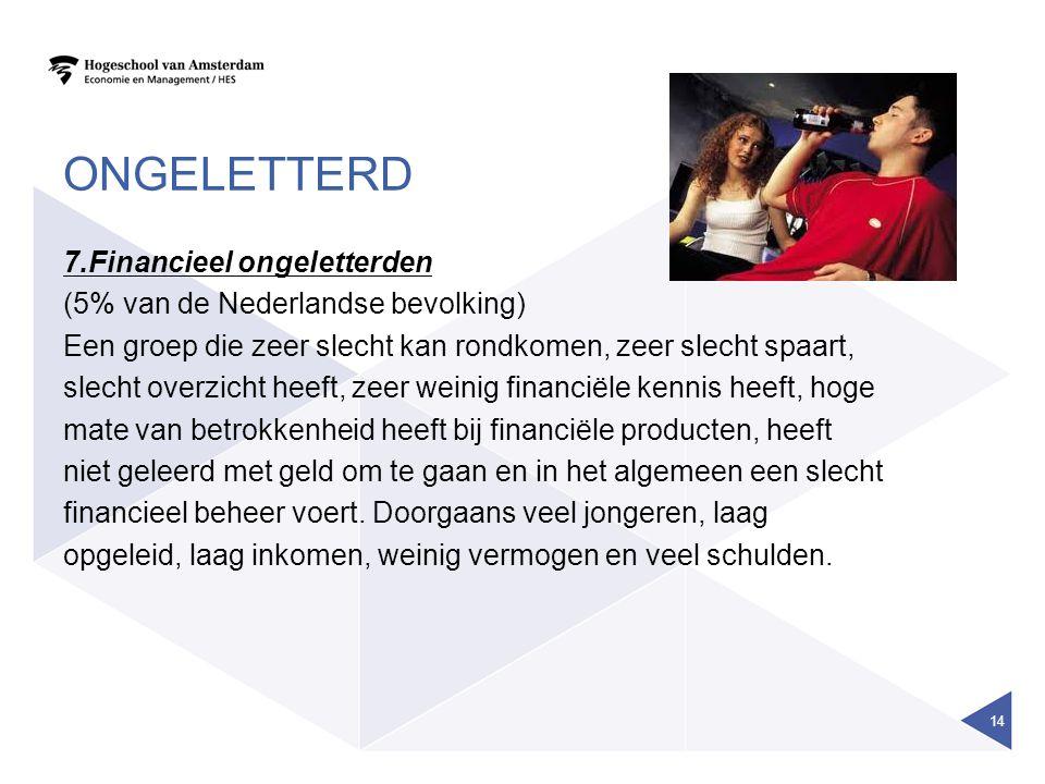 ONGELETTERD 7.Financieel ongeletterden (5% van de Nederlandse bevolking) Een groep die zeer slecht kan rondkomen, zeer slecht spaart, slecht overzicht heeft, zeer weinig financiële kennis heeft, hoge mate van betrokkenheid heeft bij financiële producten, heeft niet geleerd met geld om te gaan en in het algemeen een slecht financieel beheer voert.