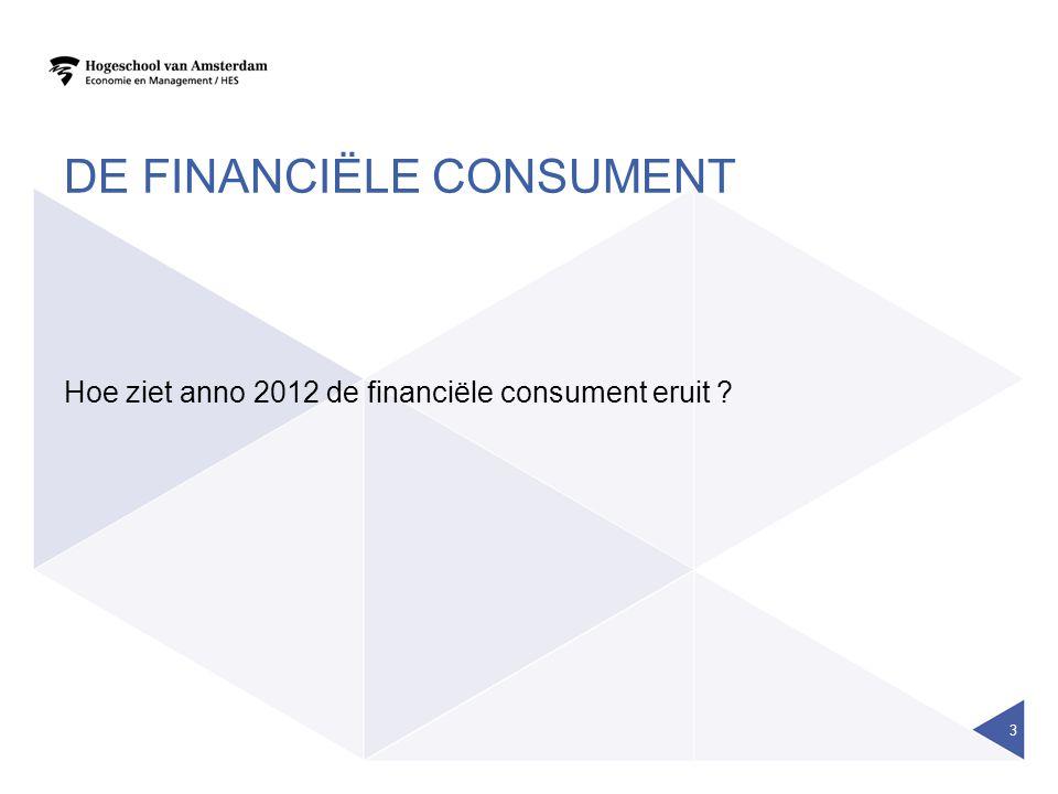 DE FINANCIËLE CONSUMENT Hoe ziet anno 2012 de financiële consument eruit ? 3