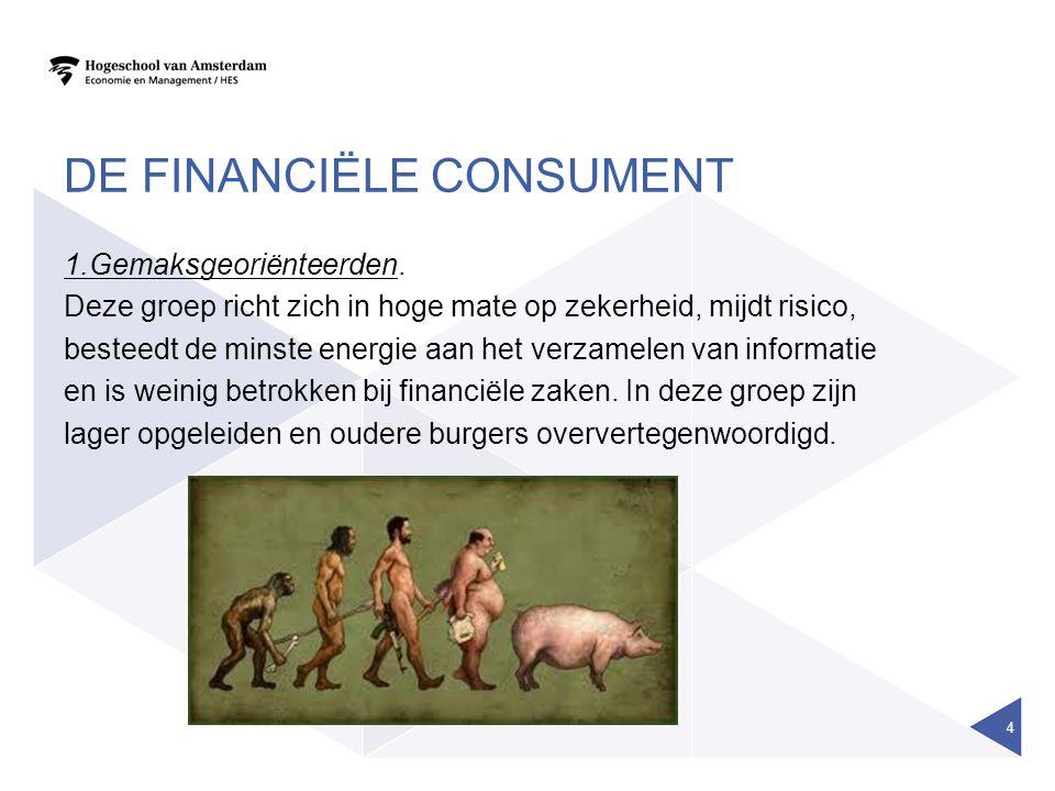 DE FINANCIËLE CONSUMENT 1.Gemaksgeoriënteerden.