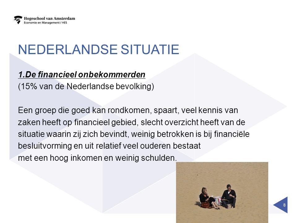 AMBITIEUS 2.Financieel ambtieuzen (17% van de Nederlandse bevolking) Een groep die goed kan rondkomen, veel kennis heeft op financieel gebied en zich op de financiële markt ook actief gedraagt door financiële producten aan te schaffen die (soms) enig risico met zich meebrengen.