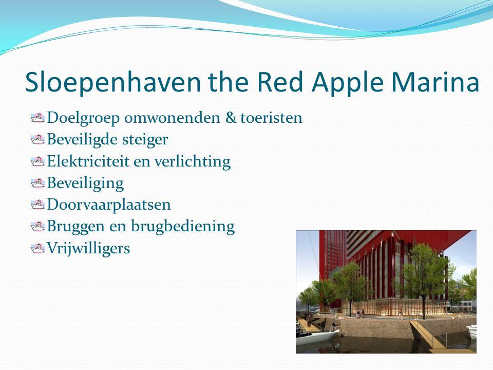 Sloepenhaven the Red Apple Marina Doelgroep omwonenden & toeristen Beveiligde steiger Elektriciteit en verlichting Beveiliging Doorvaarplaatsen Bruggen en brugbediening Vrijwilligers