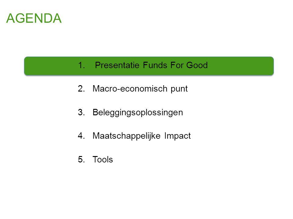 AGENDA 1. Presentatie Funds For Good 2.Macro-economisch punt 3.Beleggingsoplossingen 4.Maatschappelijke Impact 5.Tools