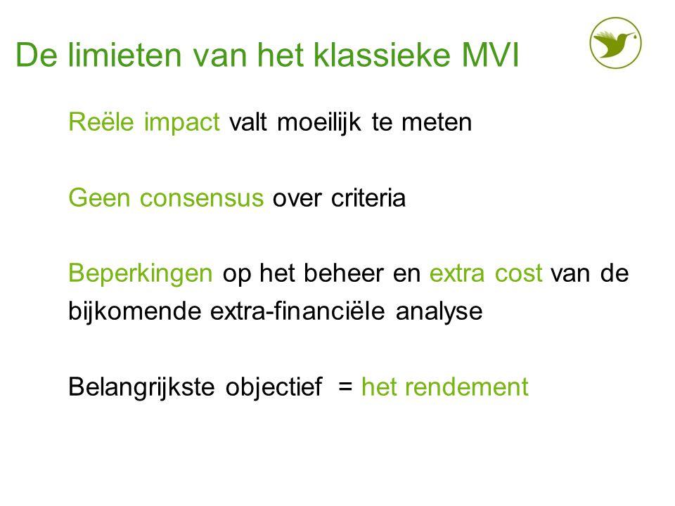 De limieten van het klassieke MVI Reële impact valt moeilijk te meten Geen consensus over criteria Beperkingen op het beheer en extra cost van de bijk
