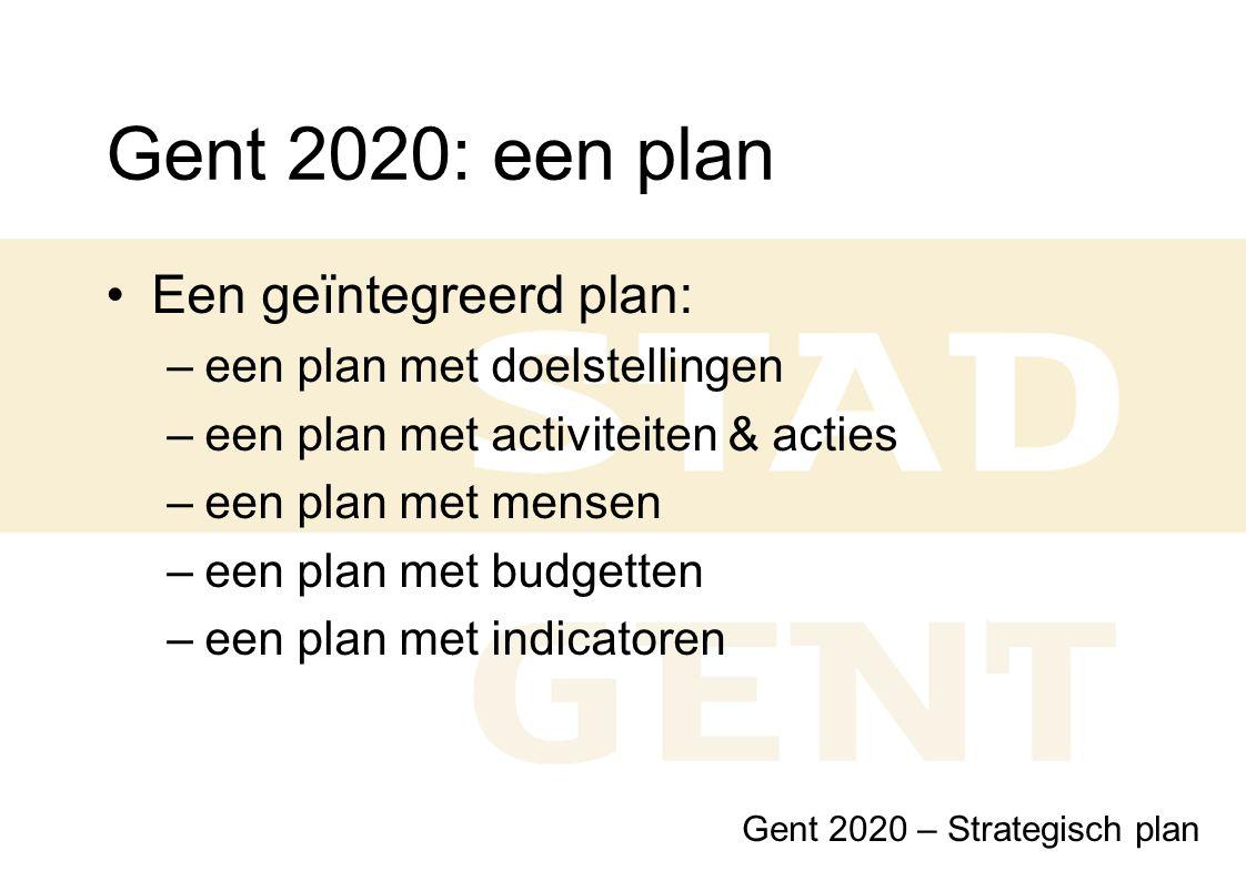 Gent 2020: een plan Een geïntegreerd plan: –een plan met doelstellingen –een plan met activiteiten & acties –een plan met mensen –een plan met budgett