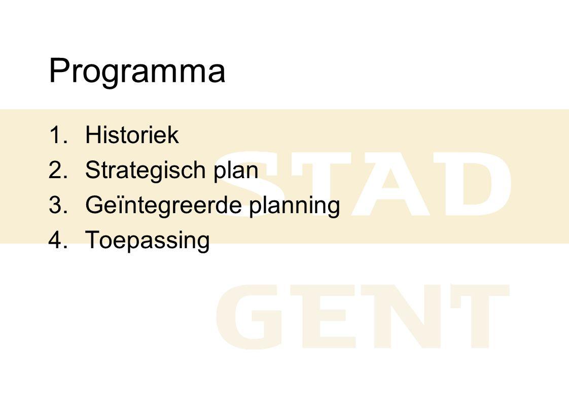 Programma 1.Historiek 2.Strategisch plan 3.Geïntegreerde planning 4.Toepassing