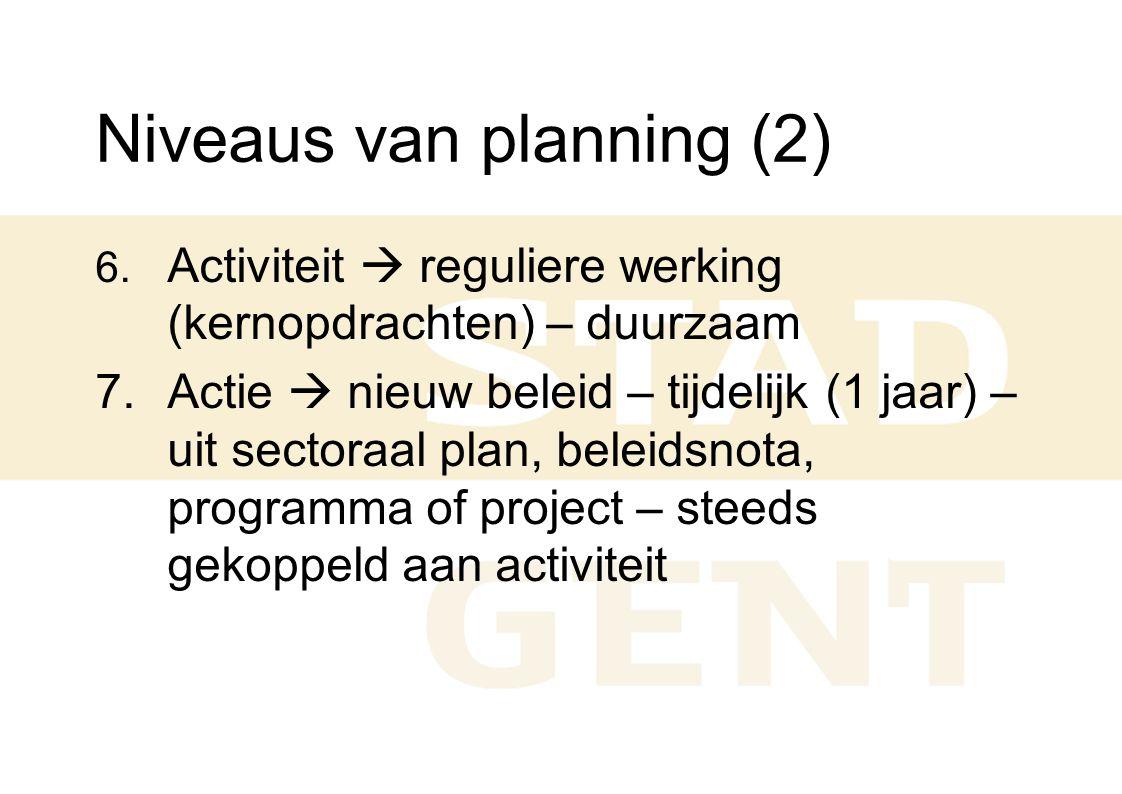 Niveaus van planning (2) 6. Activiteit  reguliere werking (kernopdrachten) – duurzaam 7. Actie  nieuw beleid – tijdelijk (1 jaar) – uit sectoraal pl