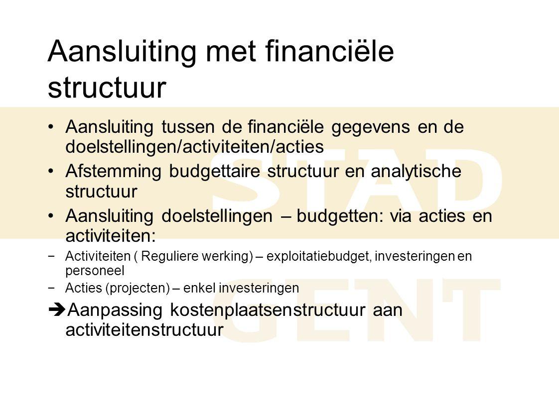 Aansluiting met financiële structuur Aansluiting tussen de financiële gegevens en de doelstellingen/activiteiten/acties Afstemming budgettaire structu