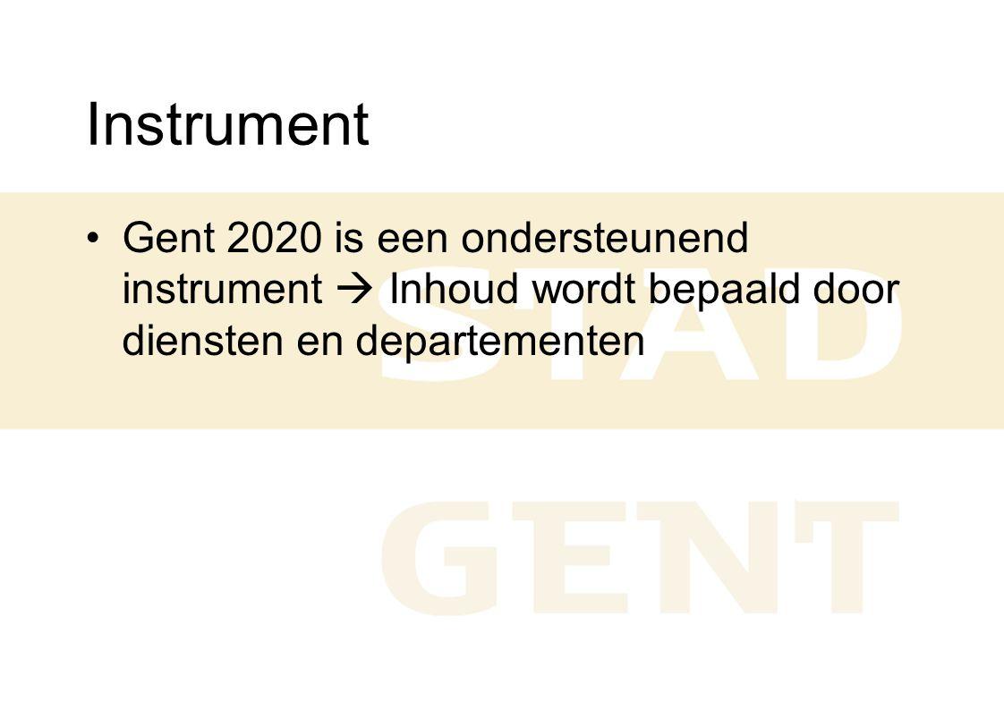Instrument Gent 2020 is een ondersteunend instrument  Inhoud wordt bepaald door diensten en departementen